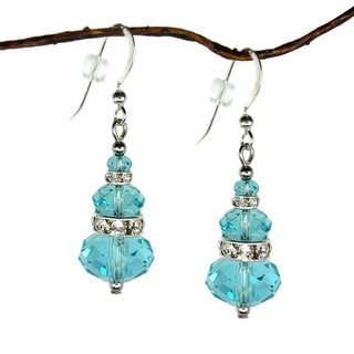 Jewelry by Dawn Tri-tier Light Turquoise Crystal Rondelle Dangle Earrings