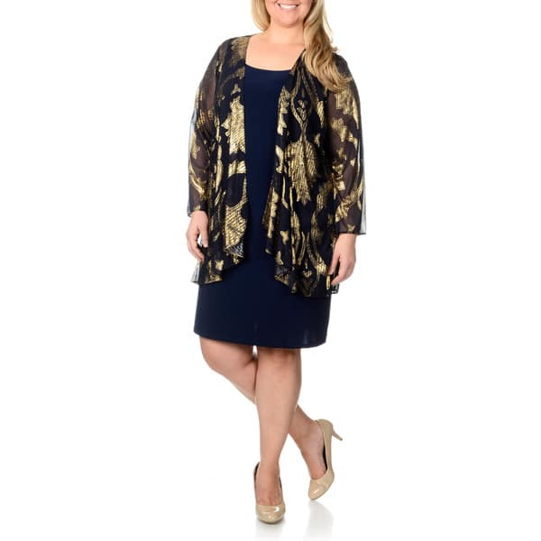 b2921bc0807 Shop Onyx Nite Women s Plus Size Navy  Gold 2-piece Jacket and Dress ...