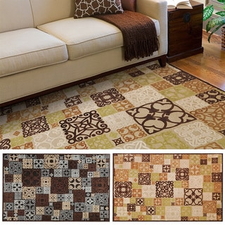 Hand-woven Damask Routt Contemporary Area Rug (5'2 x 7'6)