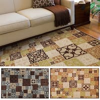 Hand-woven Damask Routt Contemporary Area Rug - 5'2 x 7'6