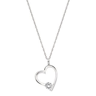 Pearlyta Sterling Silver Cubic Zirconia Heart Charm Necklace