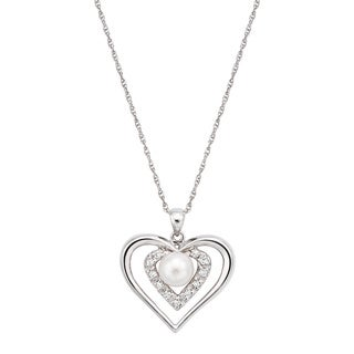 Pearlyta Sterling Silver Cubic Zirconia Heart Freshwater Pearl Necklace (6-7 mm)
