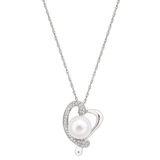 Pearlyta Sterling Silver Freshwater Button Pearl and Cubic Zirconia Heart Necklace (10-11 mm)