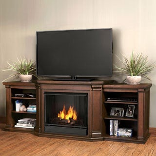 Real Flame Valmont Chestnut Oak 75.5 in. L x 21.5 in. D x 27.7 in. H Entertainment Gel Fuel Fireplace