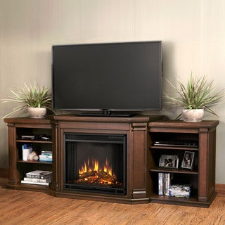 Valmont Ent Center Electric Fireplace Chestnut Oak by Real Flame - 75.5L x 21.5W x 27.7H