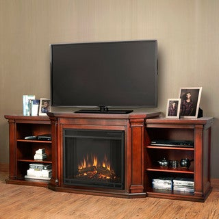 Real Flame Valmont Dark Mahogany 75.5 in. L x 21.5 in. D x 27.7 in. H Entertainment Center Electric Fireplace