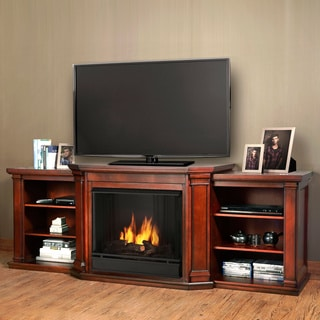 Real Flame Valmont Gel Fuel Dark Mahogany 75.5 in. L x 21.5 in. D x 27.7 in. H Entertainment Fireplace