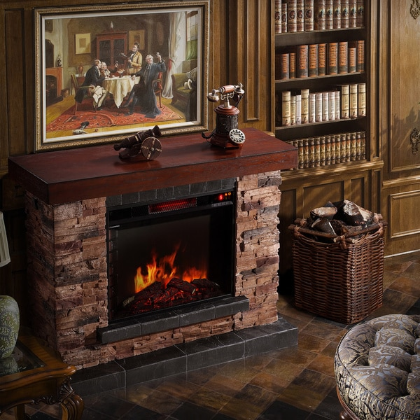 Shop Corvus Stacked Stone Mantel Electric Flame Fireplace