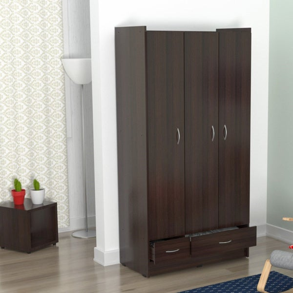 Inval multi storage espresso wenge armoire free shipping for Armoire penderie wenge