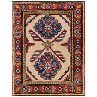 Herat Oriental Afghan Hand-knotted Kazak Ivory/ Burgundy Wool Rug (2'3 x 2'11)