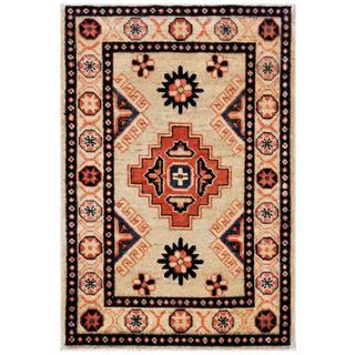 Herat Oriental Afghan Hand-knotted Kazak Ivory/ Coral Wool Rug (1'11 x 2'11)