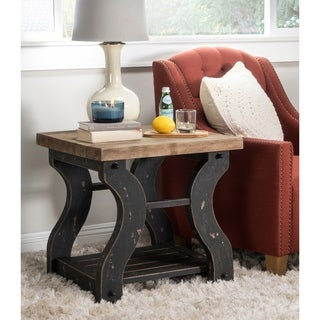 Kosas Home Satur Distressed Black/ Natural End Table