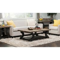 Satur Natural and Black Reclaimed Wood Coffee Table by Kosas Home - 18hx53wx34d