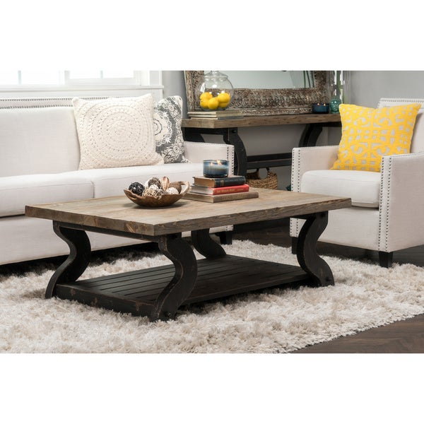 wood coffee table product satur natural and black reclaimed wood coffee table by kosas home