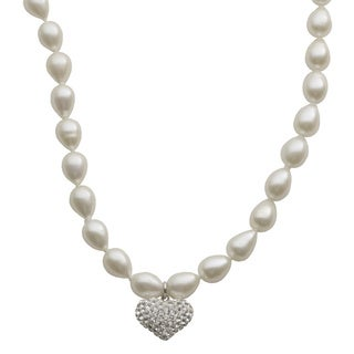 Pearls For You Sterling Silver White Freshwater Pearl Strand and White Crystal Heart Charm Necklace (7-7.5 mm)