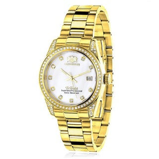 Link to Luxurman Women's Tribeca Yellow Gold-Plated 1 1/2Ct Diamond Watch with Metal Band and Extra Leather Similar Items in Women's Watches