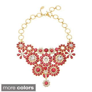 Amrita Singh Goldtone Crystal and Resin Flower Bib Fashion Necklace