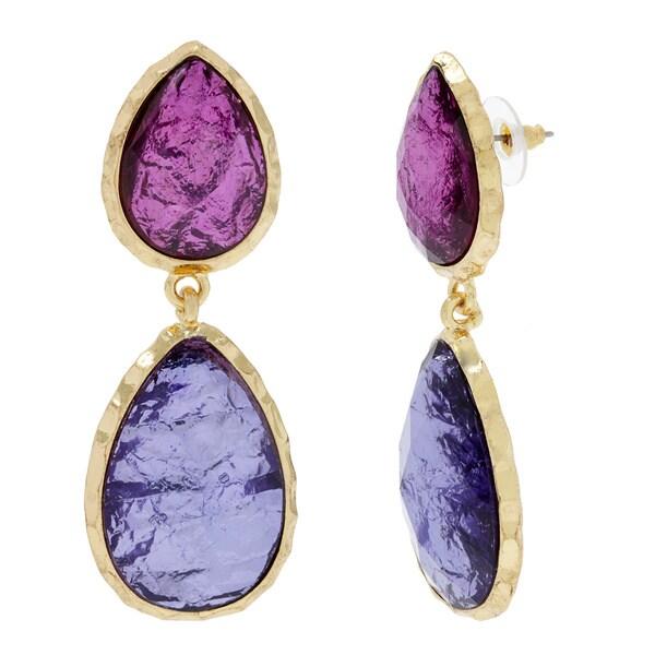 Amrita Singh Purple Resin Goldtone Dangle Earrings