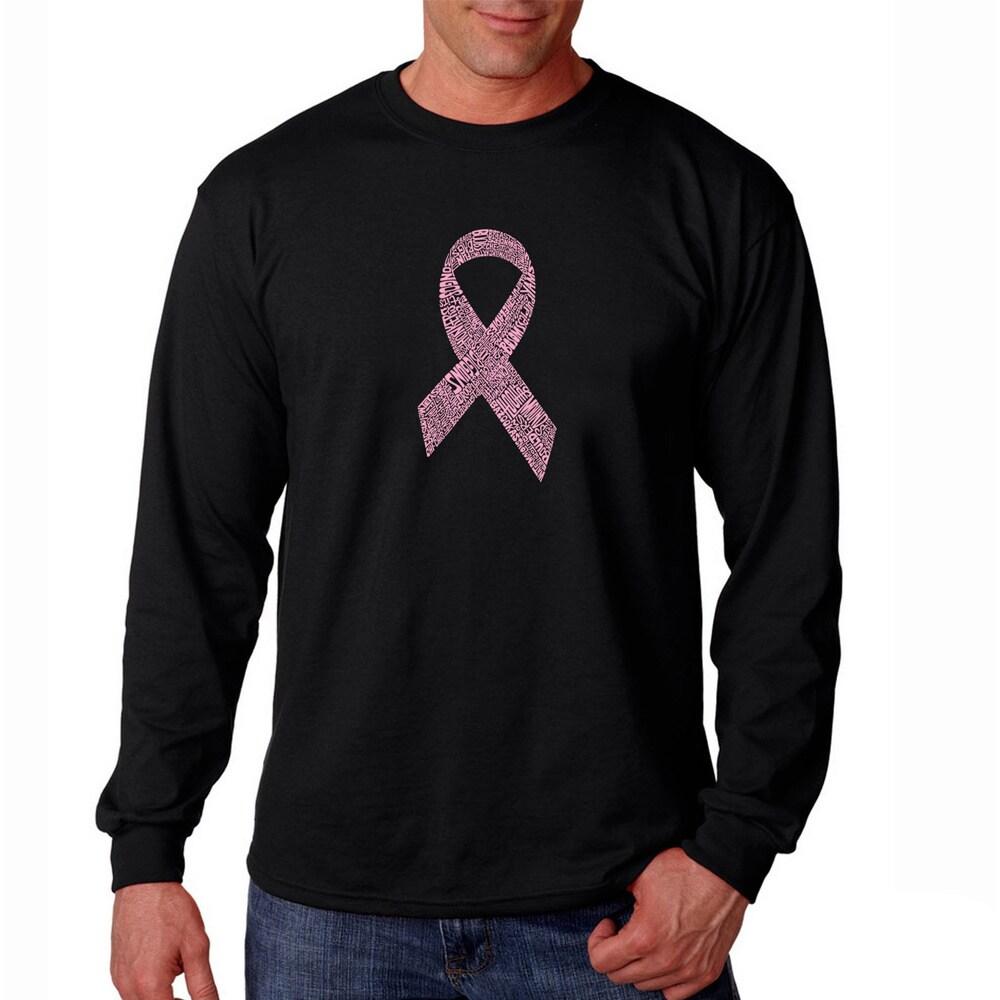 Los Angeles Pop Art Men's 'Cancer Ribbon' Black T-shirt (...