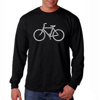 Los Angeles Pop Art Men's 'Save a Planet Bike' Black Long Sleeve T-shirt