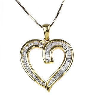 18k Yellow Gold 1/3ct TDW Classic Tapered Baguette Diamond Heart Necklace (H-I, I1-I2)