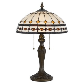 Cal Lighting Tiffany 2-light Antique Brass Tiffany Table Lamp