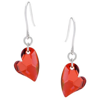 La Preciosa Sterling Silver Red Heart Earrings