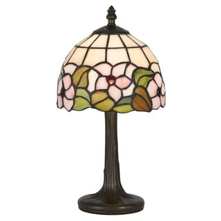 Cal Lighting Tiffany Pink Flower 1-light Antique Brass Accent Lamp
