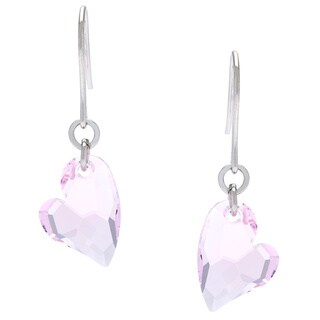 La Preciosa Sterling Silver Pink Heart Made with Crystal Elements Earrings