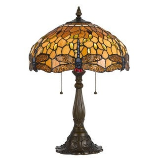 Cal Lighting Tiffany-style Dragonfly 2-light Antique Brass Table Lamp