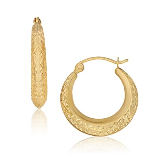 Gioelli 14k Yellow Gold Diamond-cut High Polish Hoop Earrings