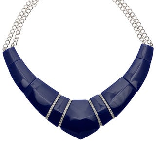 Kenneth Jay Lane 9894NL Blue Crystal Bib Necklace