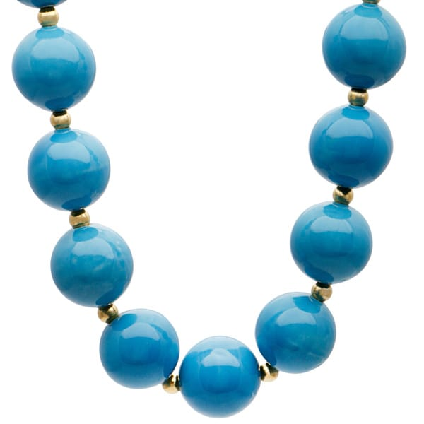Kenneth Jay Lane Goldtone and Large Blue Beaded Necklace