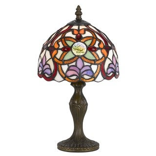 Cal Lighting Tiffany-style Fleur 1-light Antique Brass Accent Lamp