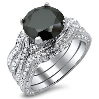 Noori 14k Gold 4 2/5ct TDW Black Diamond Three Band Bridal Set