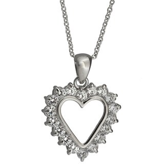 Nexte Jewelry Silvertone Cubic Zirconia Heart Pendant Necklace