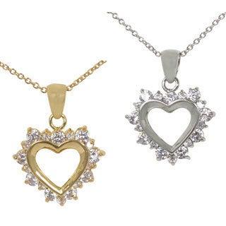NEXTE Jewelry Goldtone or Silvertone Alternating Size Stones Heart Necklace