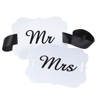Mr. and Mrs. White Scallop Chair Banners