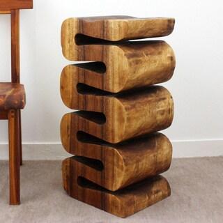 Handmade 30-inch Acacia Wood Wave End Table (Thailand)