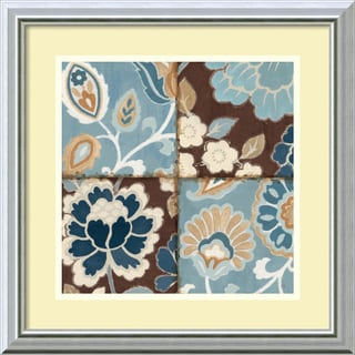 Framed Art Print 'Patchwork Motif Blue I' by Alain Pelletier 18 x 18-inch