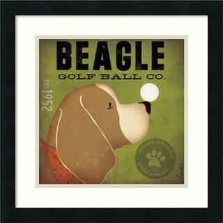 Framed Art Print 'Beagle Golf Ball Co.' by Stephen Fowler 18 x 18-inch