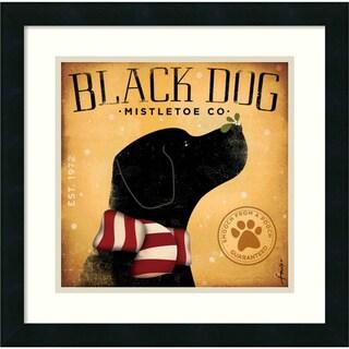 Stephen Fowler 'Black Dog Mistletoe' Framed Art Print (18 x 18-inch)