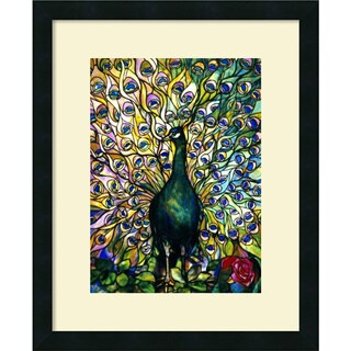 Framed Art Print 'Fine Peacock' by Tiffany Studios 18 x 22-inch