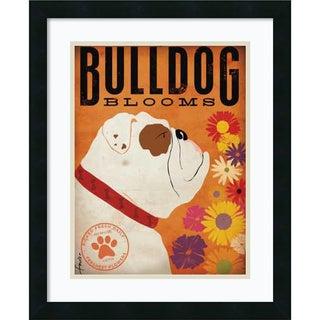 Stephen Fowler Bulldog Blooms 18x22-inch Framed Art Print