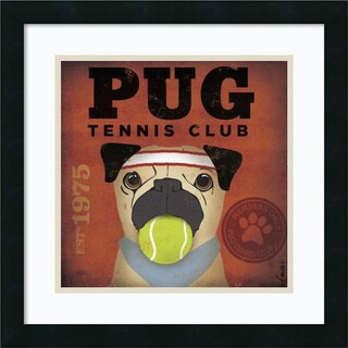 Stephen Fowler Pug Tennis Club 18x18-inch Framed Art Print