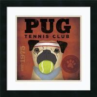 Framed Art Print 'Pug Tennis Club' by Stephen Fowler 18 x 18-inch
