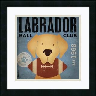 Framed Art Print 'Labrador Ball Club' by Stephen Fowler 18 x 18-inch