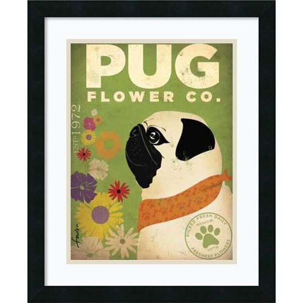 Framed Art Print 'Pug Flower Co.' by Stephen Fowler 18 x 22-inch