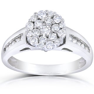 Annello by Kobelli 14k White Gold 3/4ct TDW Multi Stone Round Diamond Ring (H-I, I1-I2)