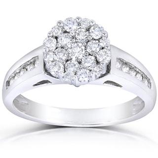 Annello 14k White Gold 3/4ct TDW Multi Stone Round Diamond Ring (H-I, I1-I2)